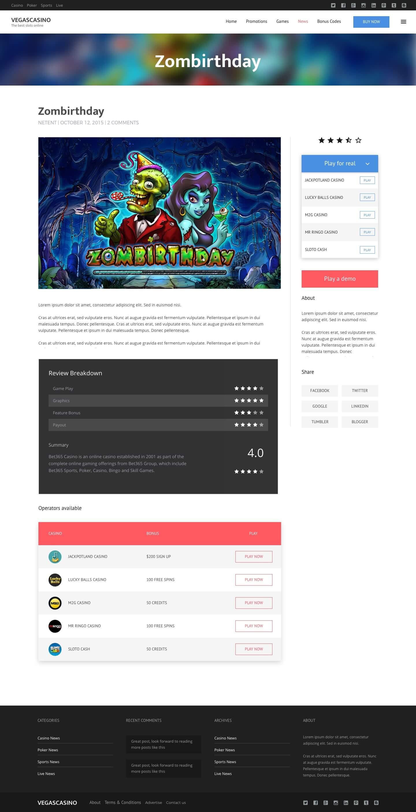 Wordpress Slots Theme page template