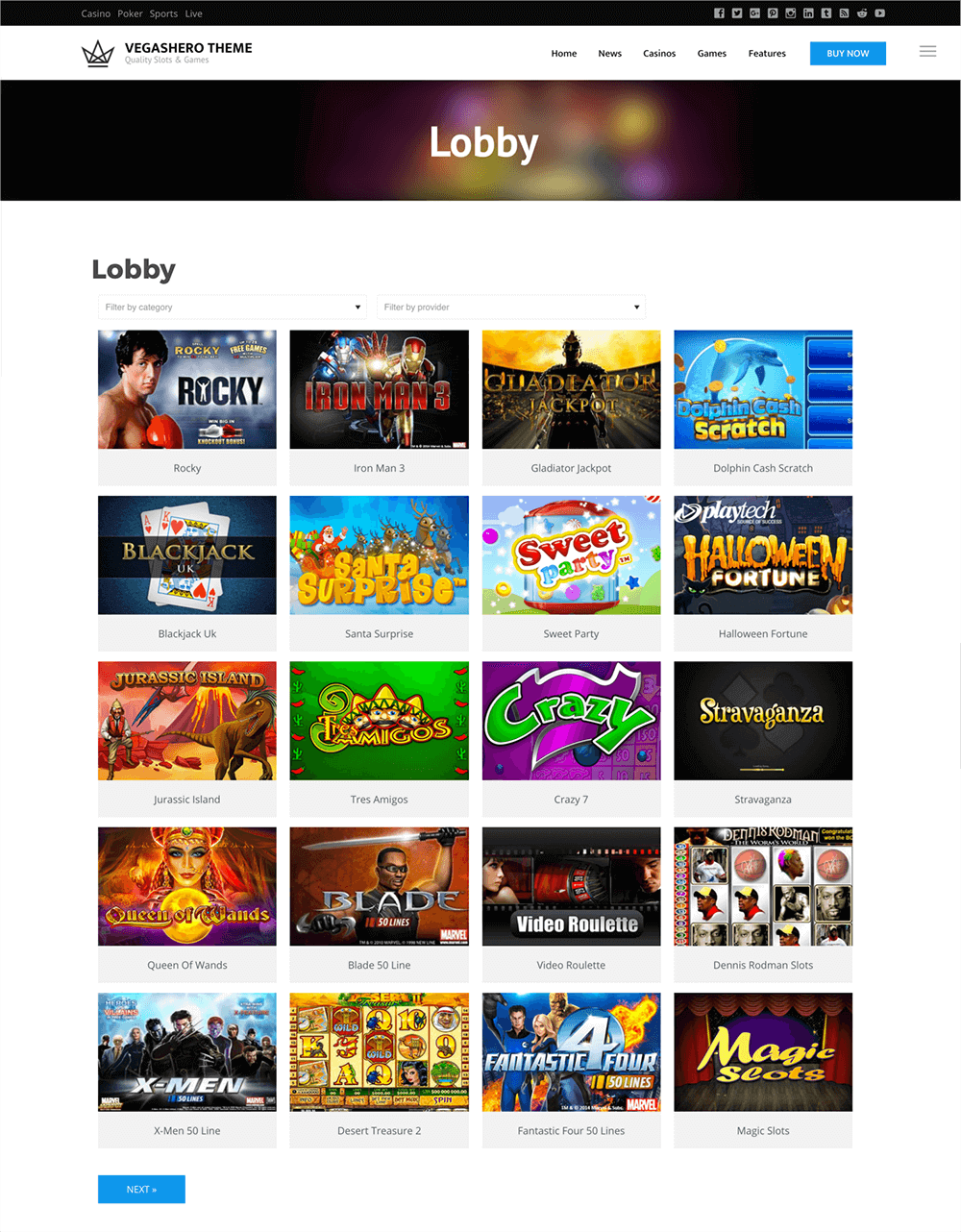 Responsive casino lobby demo