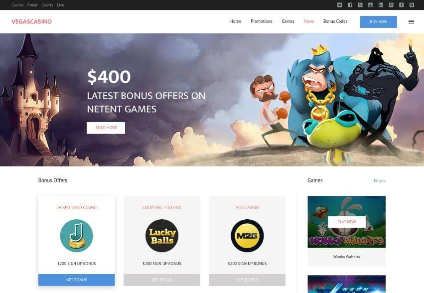 VegasHero - Best casino WordPress theme design in 2017