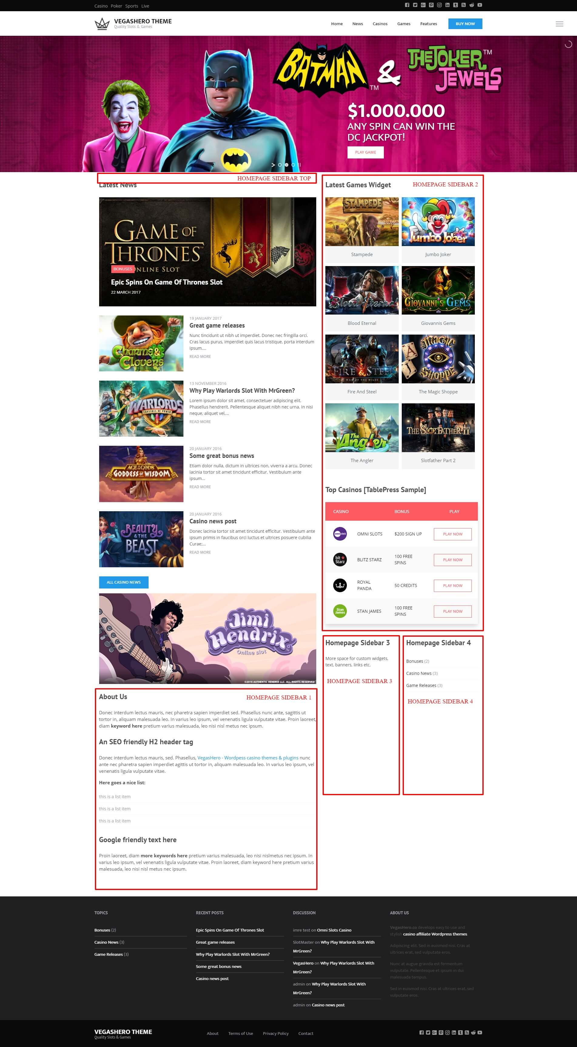 VegasHero Casino Theme – Homepage Widgetized Areas