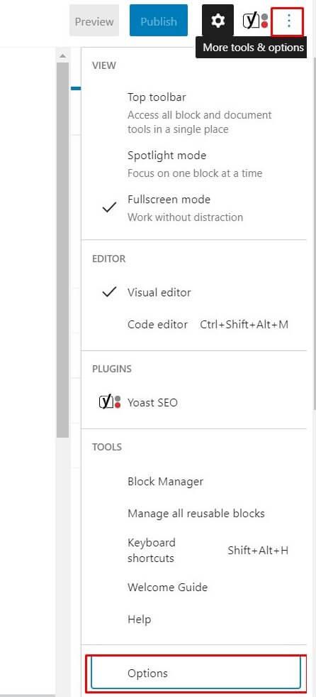 gutenberg screen options