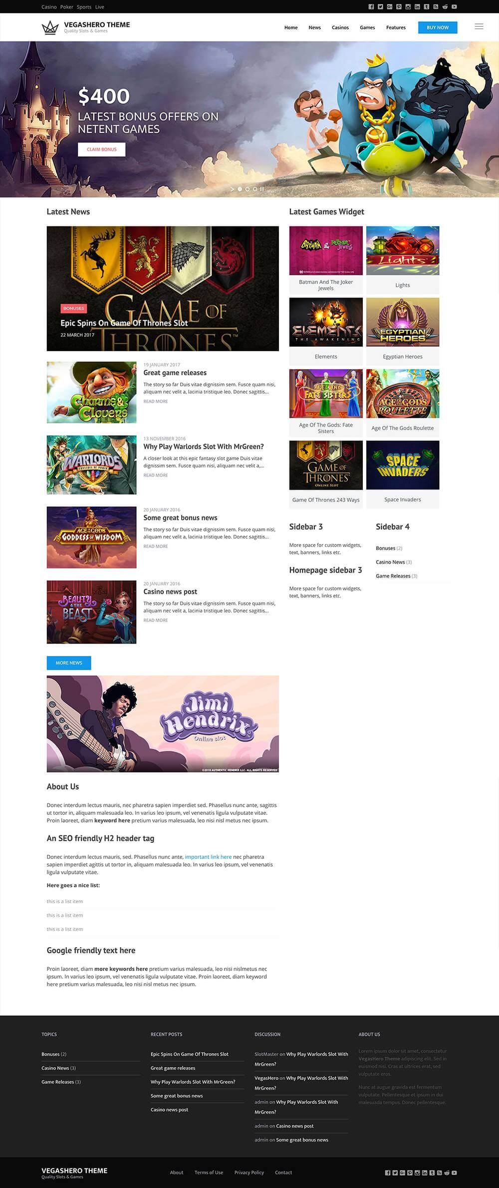 Casino WordPress website homepage design