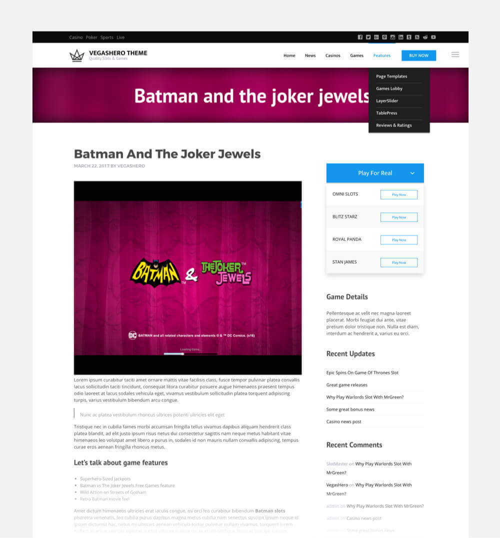 Slots game page template