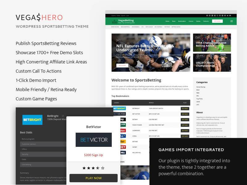 VegasHero Sportsbetting Wordpress theme